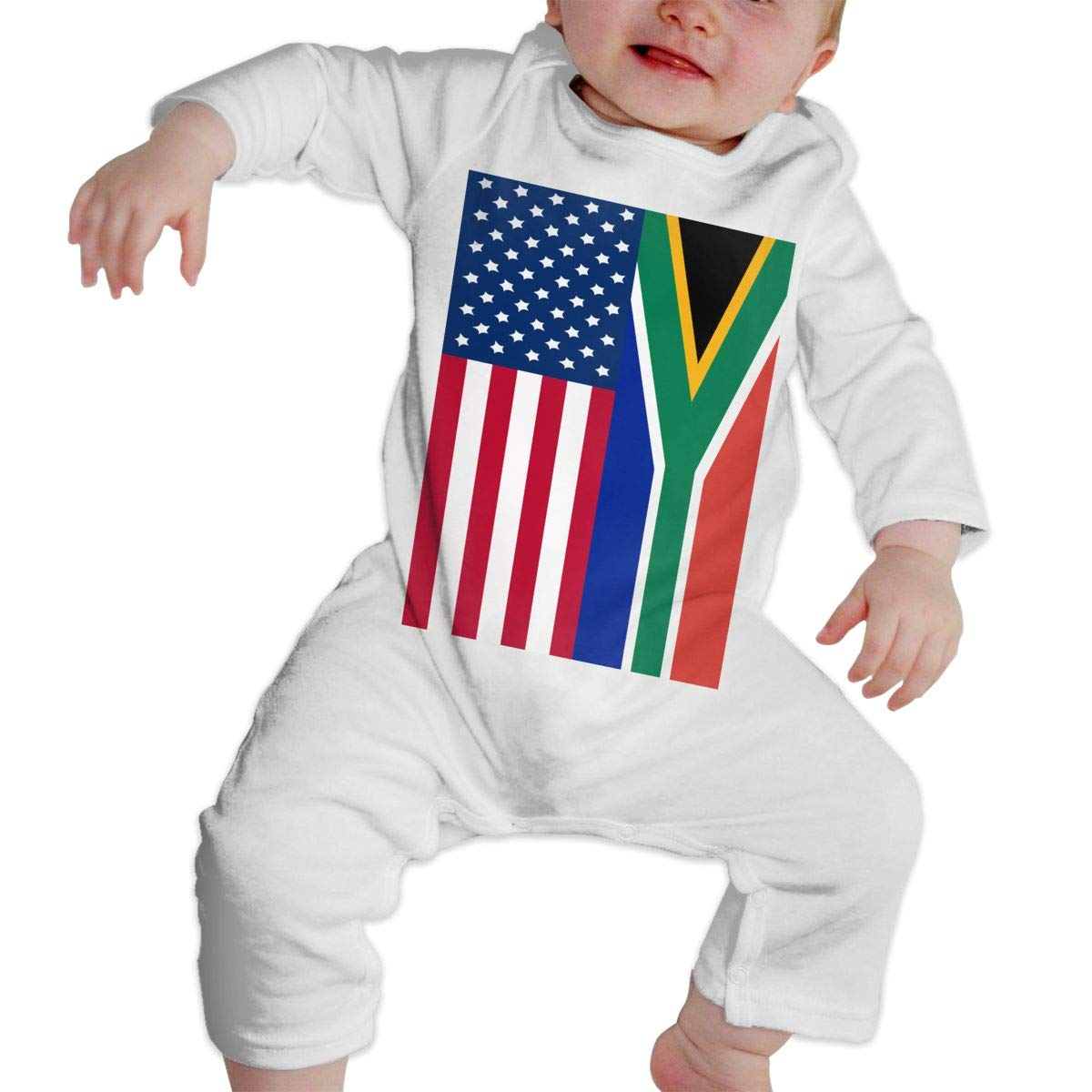 A1BY-5US Baby Infant Toddler Cotton Long Sleeve South Africa and American Flag Baby Clothes One-Piece Romper Clothes