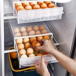 NEWFORCE 30 Grid Single Layer Egg Holder for Refrigerator, BPA Free Egg Storage Container for Fridge, Household Egg Organizer Storage Box for Kitchen & Farm