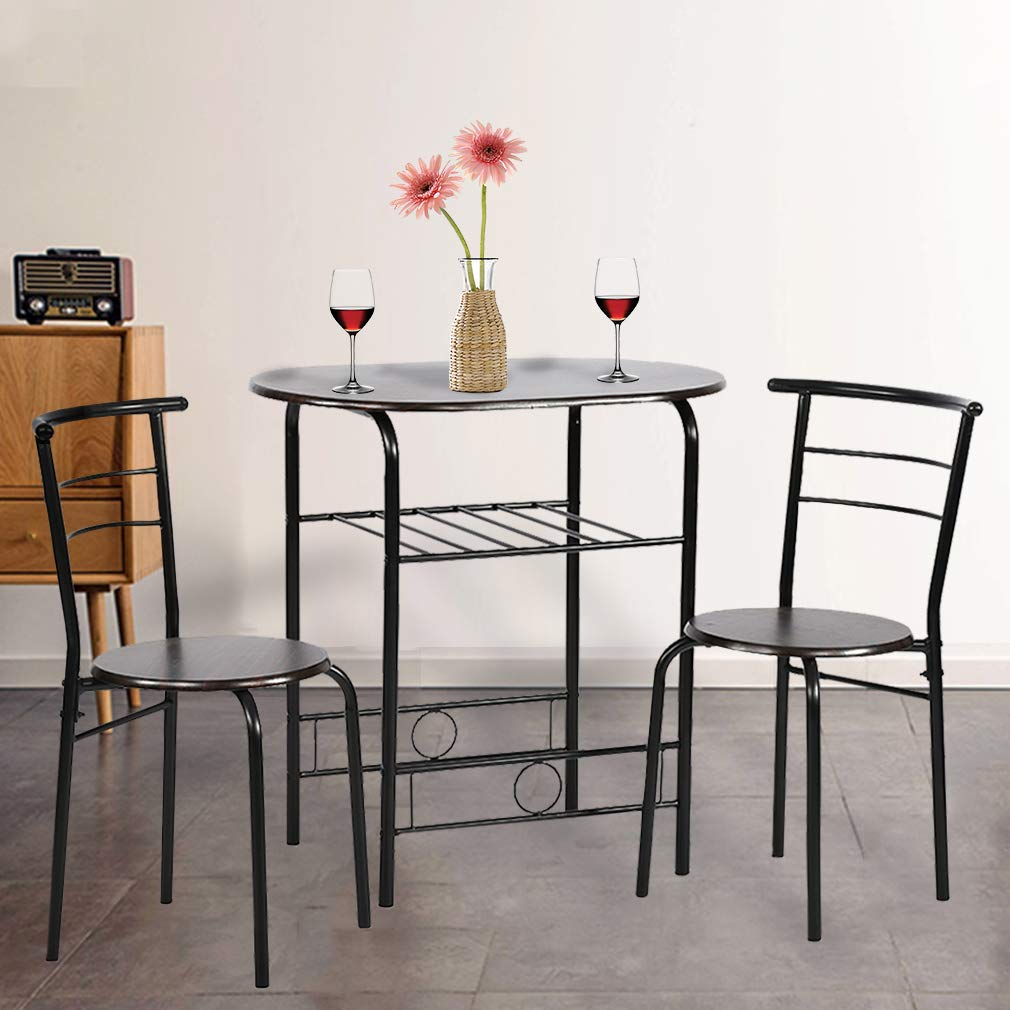 Dining Kitchen Table Dining Set,3 Piece Metal Frame Bar Breakfast Dining Room Table Set Table and Chair with 2 Chairs by BestMassage