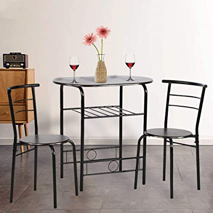Dining Kitchen Table Dining Set,3 Piece Metal Frame Bar Breakfast Dining  Room Table Set