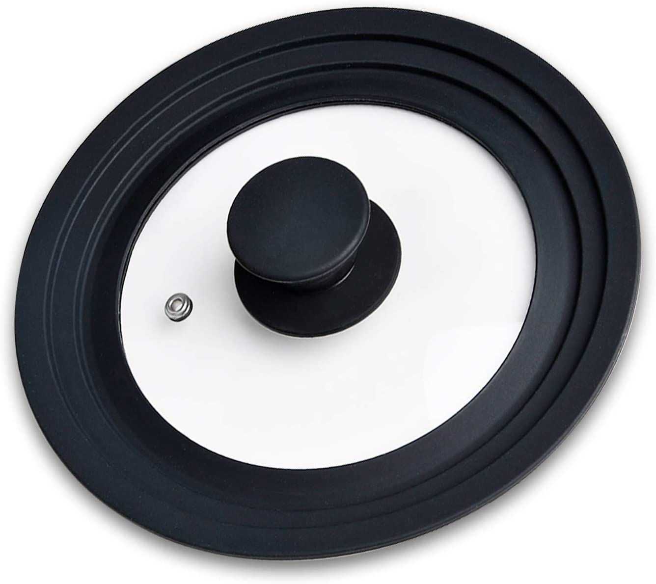 Pot Lid Akamino Universal Lids for Pots, Pans and Skillets Tempered Glass Heat Resistant Silicone Rim fits 6,7,8 Inch Cookware Replacement Lids (Black)