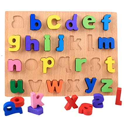 Leoie Wooden Number Figure Alphabet Early Education Puzzle Building Blocks Toy for Children Kids Lower case Letters