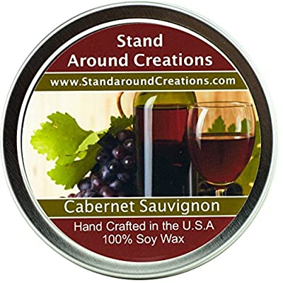 Premium 100% All Natural Soy Wax Aromatherapy Candle - 4 oz Tin- Cabernet Sauvignon Wine: The sweet aroma of wild grapes enhanced with hints of strawberries and sweet sugary notes with a light alcoholic background. A wonderful aroma of red sweet cabernet
