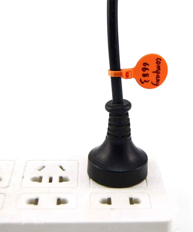 Home School Orange 100pcs Cable Ties Plastic Zip Ties 4 Inch Self-Locking Nylon Wire Ties Writable Tie Wraps Cord Power Marking Label for Office