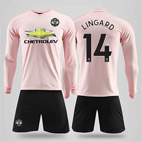 best website 2bb19 e4a56 ZZXYSY Lingard #14 Manchester United Men's Away Soccer Long Sleeve  Jersey/Short Colour Pink