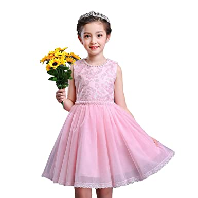 little dragon pig Pink Kids Girl Vintage Dress Flower Tulle Birthday Party Dresses 10-12