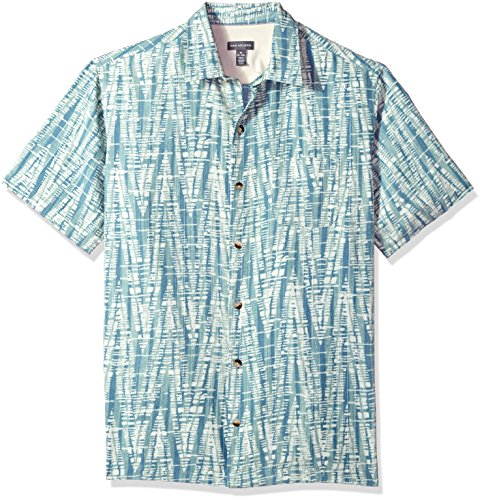Van Heusen Men's Short-Sleeve Polynesian Printed Shirt, jadeite, (Jadeite Apparel)