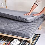 LJ&XJ Thick tatami mattress,Bamboo charcoal filling breathable not stuffy mattress topper,Clear odor foldable floor mat anti dust mite-Grey Queen1