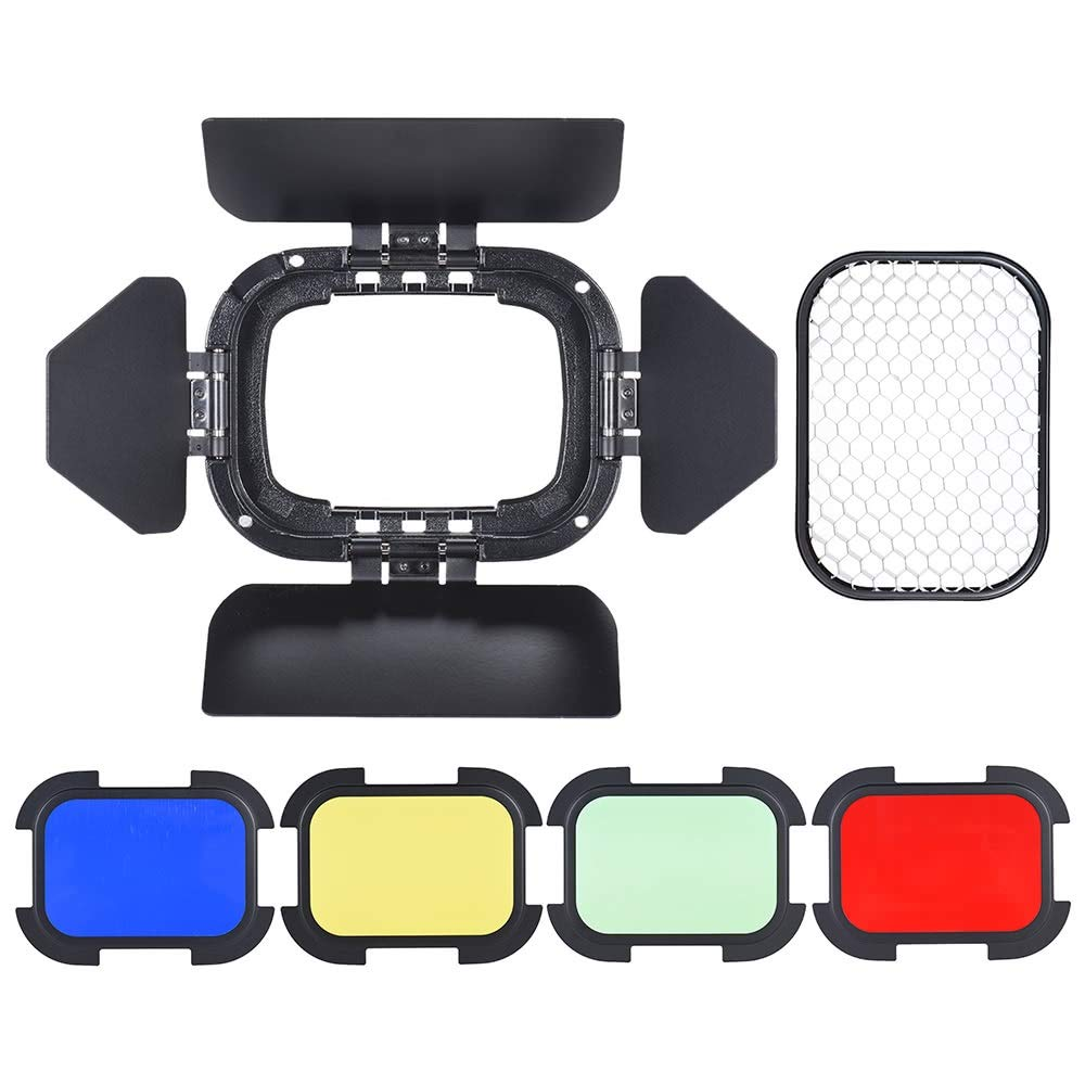 Barn Door Honeycomb Grid and Colour Gel Set Barn Door with Removable Honey Comb Grid and 4 Color Filters Compatible for Godox AD200 Pocket Flash Standard Reflector by Mingus