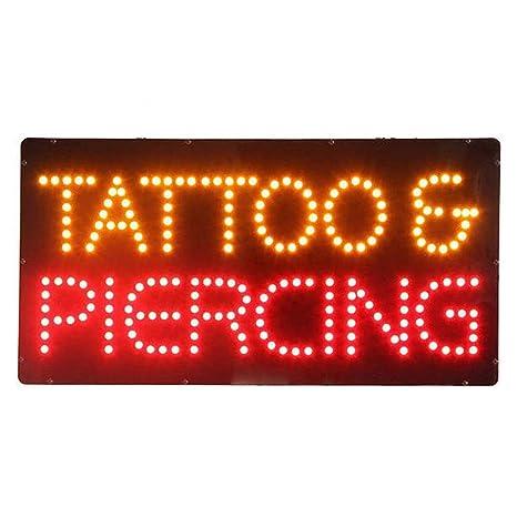 Tatuaje Piercing Shop Llev/ó La Muestra Cubierta Ultra Brillante De Ne/ón Parpadeante Abra La Muestra del LED 19 X 10 Pulgadas 48 X 25 Cm