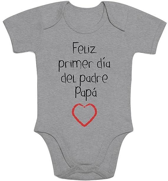 Shirtgeil Regalo - Feliz Primer Día del Padre Papá Body Bebé Manga Corta