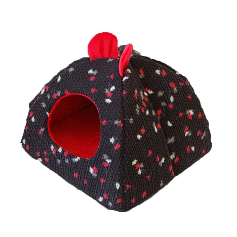 Black Large Black Large LDFN Warm Windproof Kennel Four Seasons General Pet Mattress Sofa Cushions Dog House,Black-L
