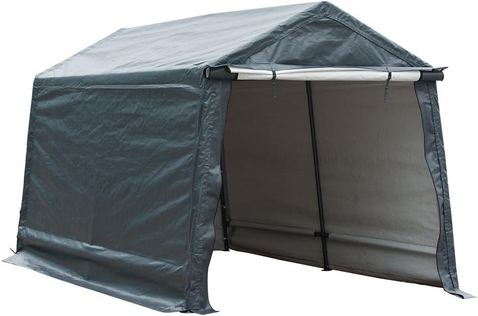 Abba Patio Outdoor Storage Shelter Storage Shed Portable Garage Kit Tent for Motocycle Garden Storage Grey,7 x 12 ft 61BtxYglt-L