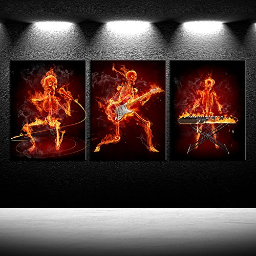 iK Canvs - 3 Piece Canvas Prints Musical Skeleton Fire Guitar Keyboardist Microphoone Wall Art Abstract Framed Picture Wall Hanging Ready to Hang for Bedroom Decorations 12x16inchx3pcs
