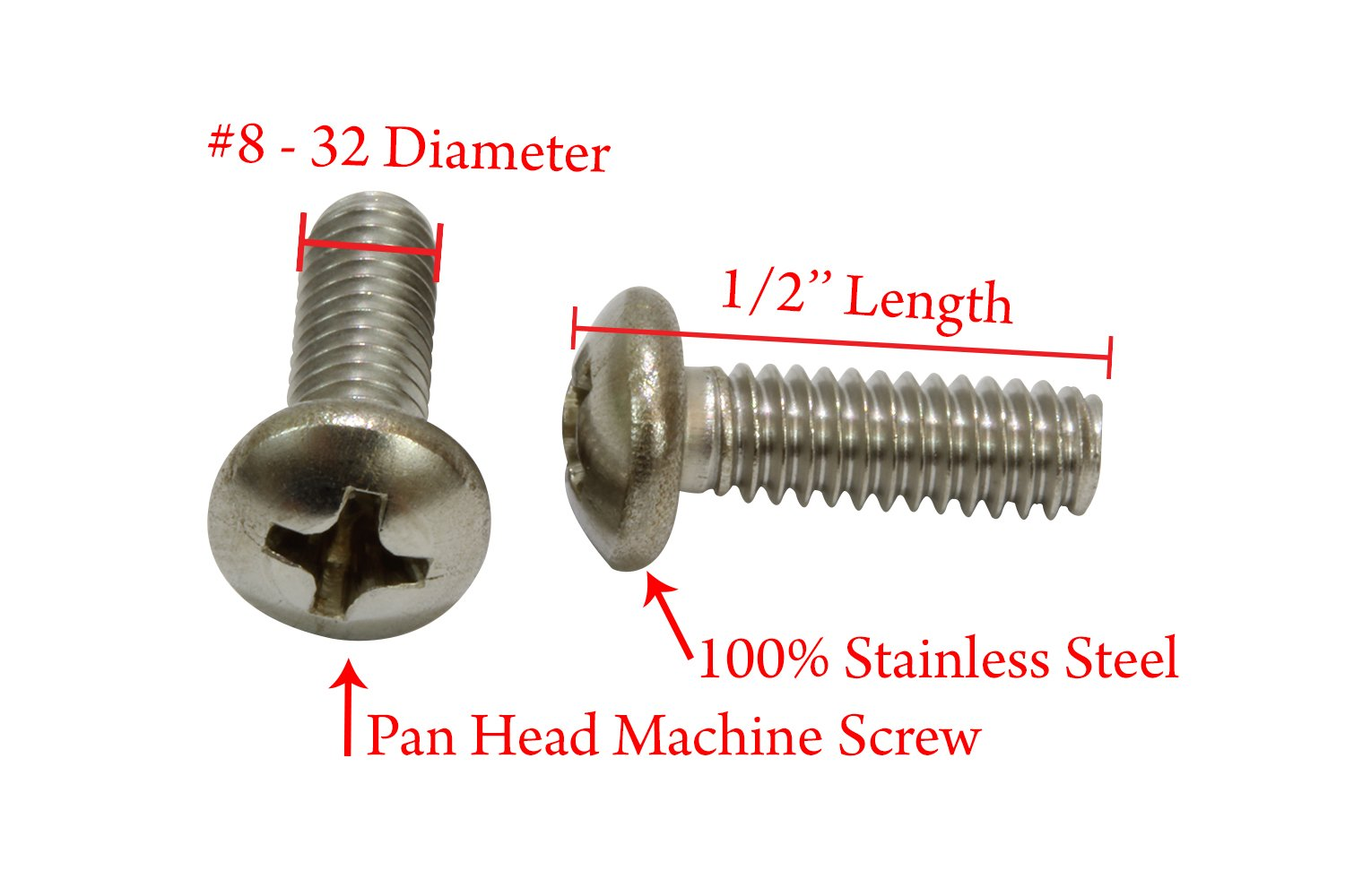 1//4-20 X 1 Slotted Hex Washer Machine Screw 18-8 Stainless Steel Package Qty 100