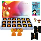 Bogatchi Chocolate Modak Rakhi Gift for Brother with Free Two Rakhi, Mango and Orange, 180g (18 Pieces)