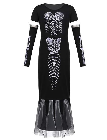 YiZYiF Vestido Cadáver Esqueleta Disfraz Esqueleto Niñas ...