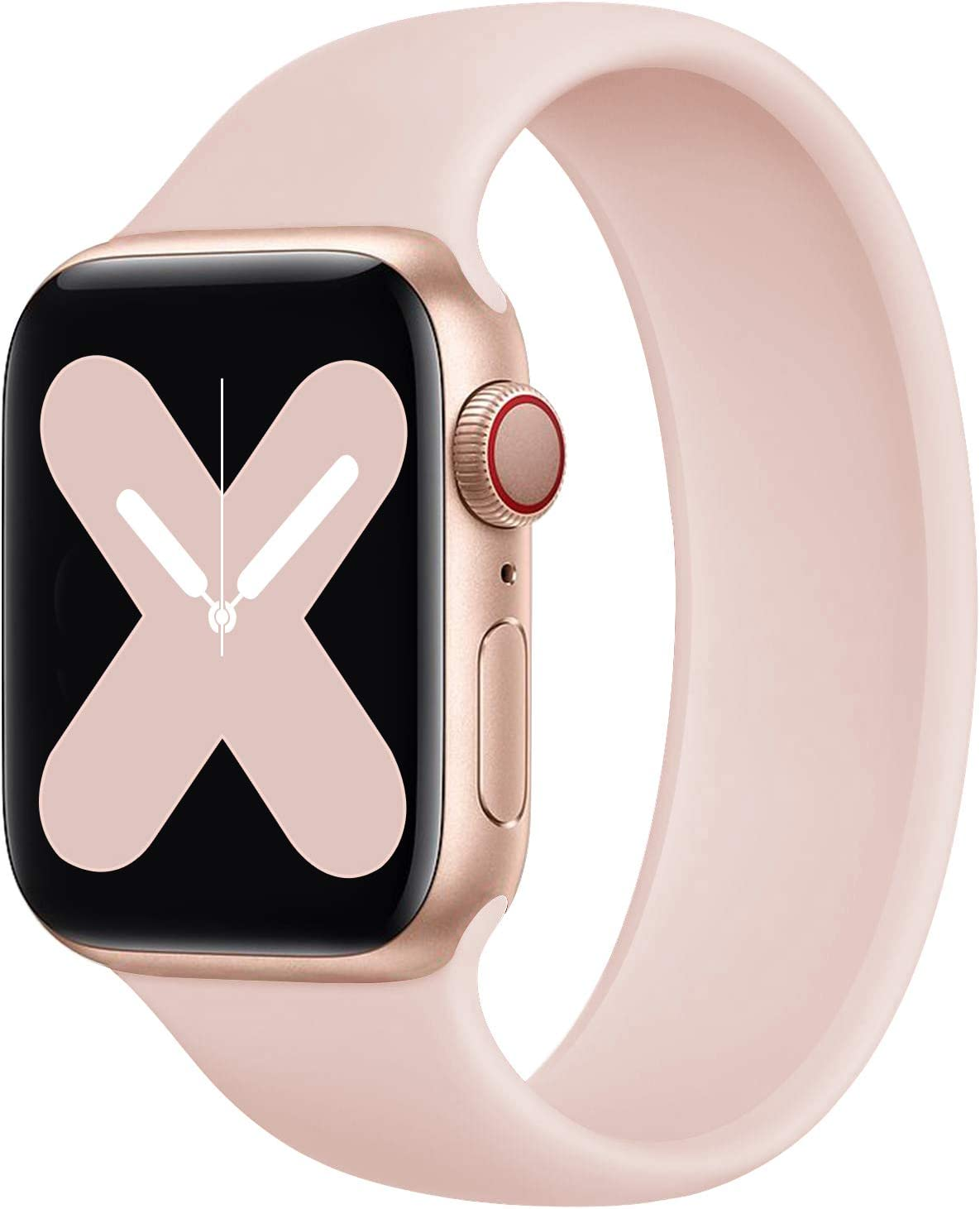Rain gold Stretchy Solo Loop Strap Compatible with Apple Watch Band 38mm 40mm 42mm 44mm, No Clasps or Buckles Sport Elastics Silicone Women Men Replacement Wristband for iWatch Series 6/SE/5/4/3/2/1