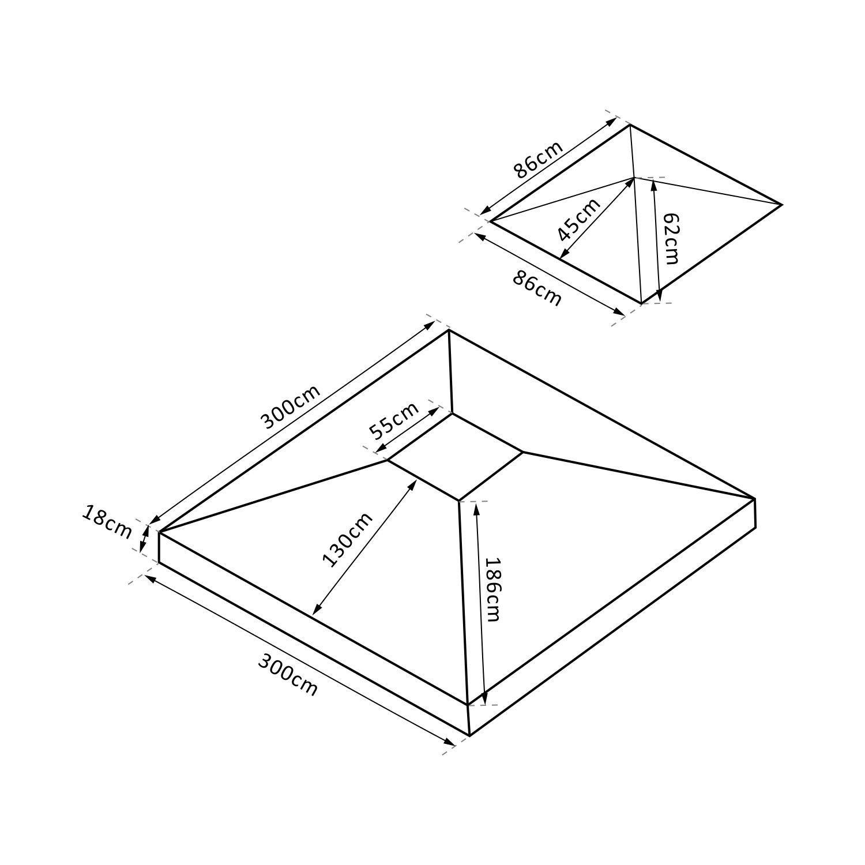 Outsunny Repuesto para Carpa Tipo kiosko 3 m x 3 m, Capa de Repuesto: Amazon.es: Jardín