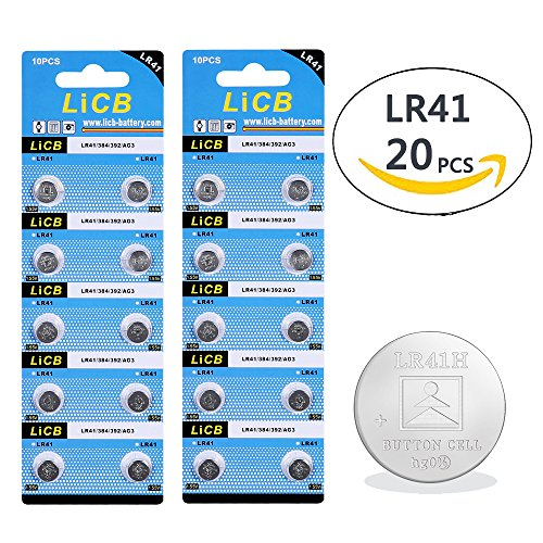 LiCB 20 Pack LR41 AG3 392 384 192 Battery 1.5V Button Coin Cell Batteries Lr41 Coin Cell