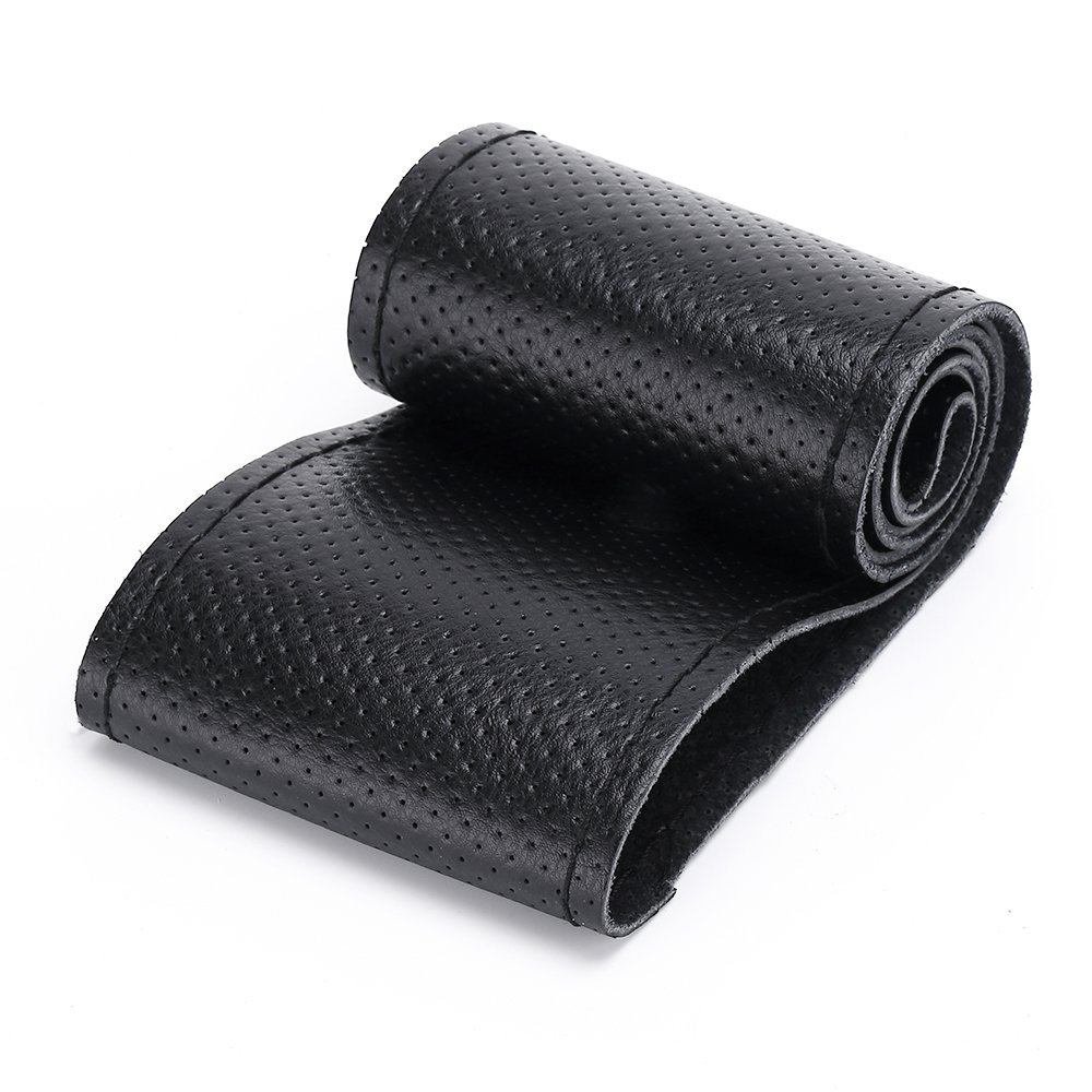 Size M, Black Anti-Slip Comfortable Grip ANTYE Auto Car Steering Wheel Cover Hand Sewing with Needle /& Thread Universal 15 inch Genuine Leather Stitch On Wrap