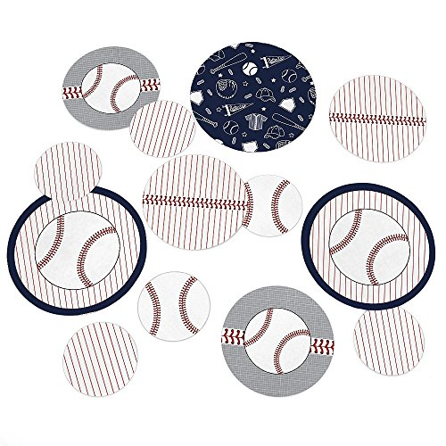 Batter Up - Baseball - Baby Shower or Birthday Party Table Confetti Set - 27 Count (Baseball Cutout)