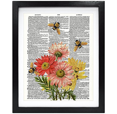 Susie Arts 8X10 Unframed Bees with Flowers Upcycled Vintage Dictionary Art