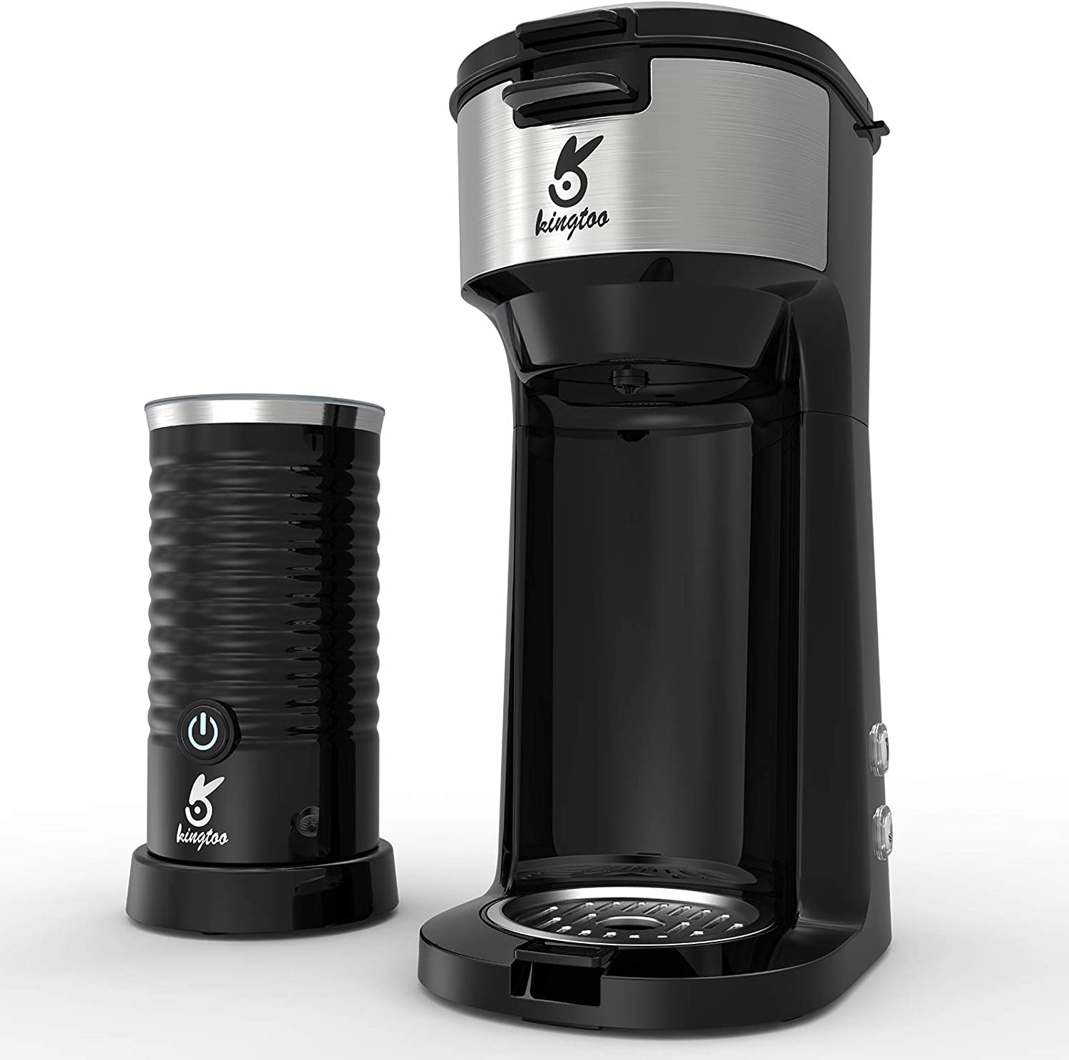 Coffee Machine with Milk Frother, Single Serve Coffee Maker for K-Cup Pod & Ground Coffee,2 IN 1 Strength-Controlled and Self Cleaning Function,Kingtoo Coffee brewer with Compact Design 6 to 14 oz Brew Sizes (Black)