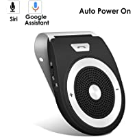 Bluetooth Car Speaker AUTO Power ON Wireless in Car Speakerhone Handsfree Sun Visor Car Kit Portable Enhance Bass Build in Mic Car Charger for All Smartphone Support GPS,Music Streaming, Calls
