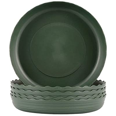 Plant Saucer 6 inch Drip Trays Dark Green Plastic Tray Saucers Indoor Outdoor Flower Pot Round (6 in x 5 Pack) : Garden & Outdoor
