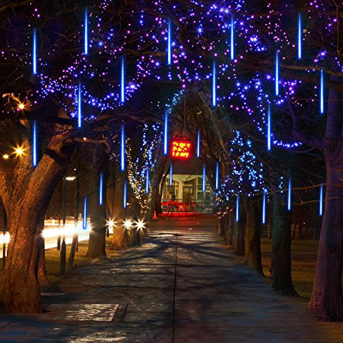 Vmanoo LED outdoor Lights 8 Tube Meteor Shower Rain Lights Solar Powered Icicle Raindrop Snow Falling Lights Cascading lighting for Garden outdoor Patio Holiday Wedding Party Decoration (Blue)