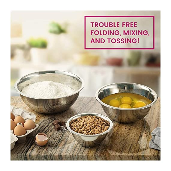 Premium Stainless Steel Mixing Bowls (Set of 6) Brushed Stainless Steel Mixing Bowl Set - Easy To Clean, Nesting Bowls for Space Saving Storage, Great for Cooking, Baking, Prepping 3 SIZED for EVERY TASKS - with range of 6-Sizes ¾, 1.5, 3, 4, 5 and 8 quart metal mixing bowls adds versatility and functionality to your kitchen, for all-purpose kitchen workhorses from prepping, mixing, stirring, to kneading dough like a pro. QUALITY STAINLESS STEEL - features an attractive brushed finish, for an elegant look enhancing your kitchen tools, these metal bowl set are easy to clean, as well as odor, stain and taste resistant. DURABLE yet LIGHTWEIGHT - Our lightweight stainless-steel bowls; ideal for everyday tasks, are made from freezer- and dishwasher-safe, durable shatterproof materials, to last a lifetime.