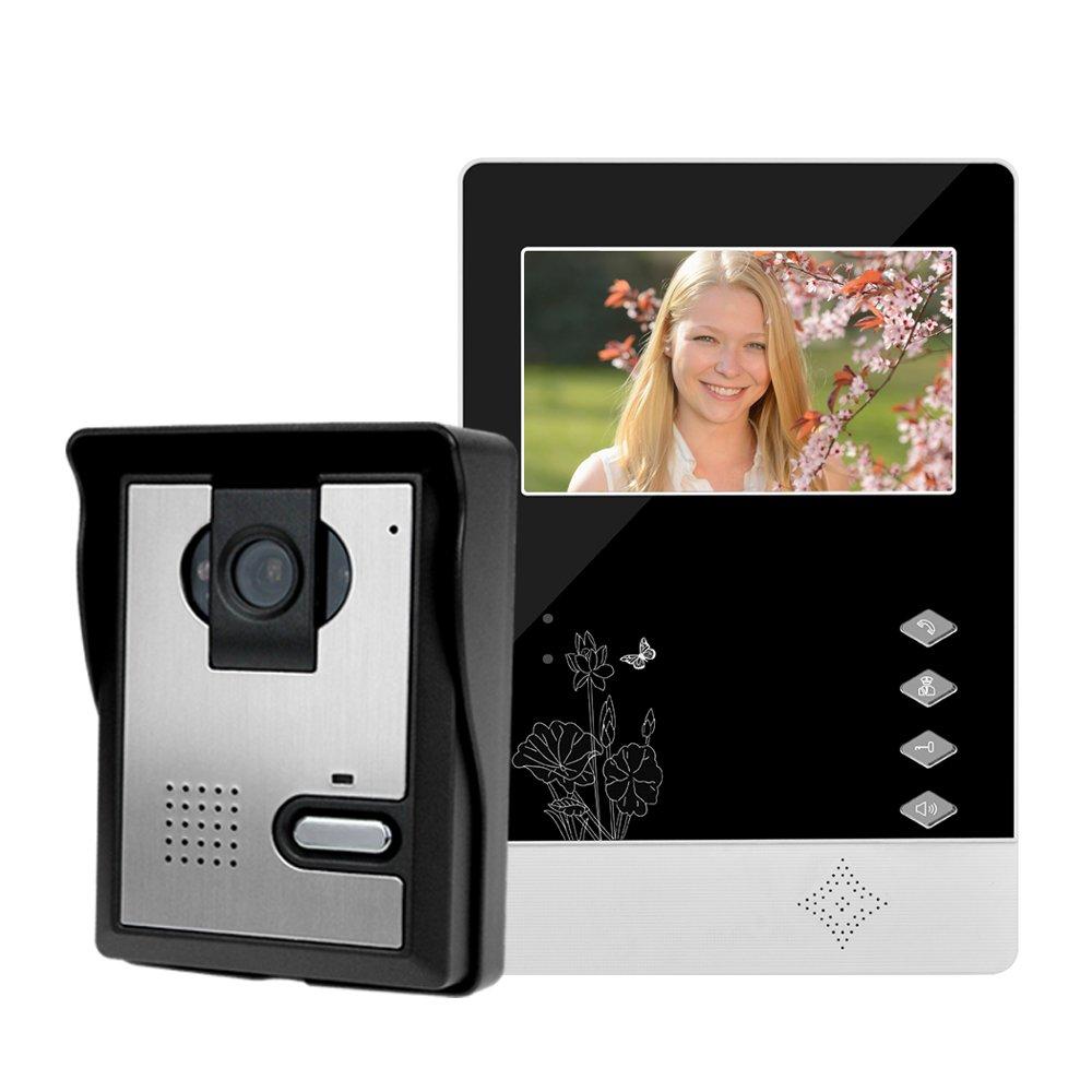 LIBO Inteligente Casa Videoportero Interfono 4.3inch Visió n Nocturna Infrarroja 25 Tonos de Llamada IP54 Impermeable para el Sistema de Entrada de Puerta LIBO Smart Home V43D11+L