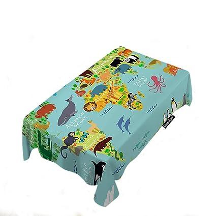 Amazon.com: Moslion Map Tablecloth Home Decor Cartoon Safari ... on malaysia map, thailand map, disneyland map, bangkok map, lumpini park map, amusement park map, erawan shrine map, drayton manor theme park map, cambodia map, zoo map, singapore map,