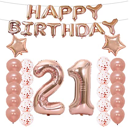 LQQDD 21th Birthday Decorations Party Supplies21th Balloons Rose GoldNumber 21 Mylar