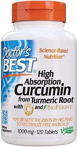 Doctor s Best Curcumin From Turmeric Root with C3 Complex BioPerine, Non-GMO, Gluten Free, Soy Free, Joint Support, 1000 mg, 120 Tablets