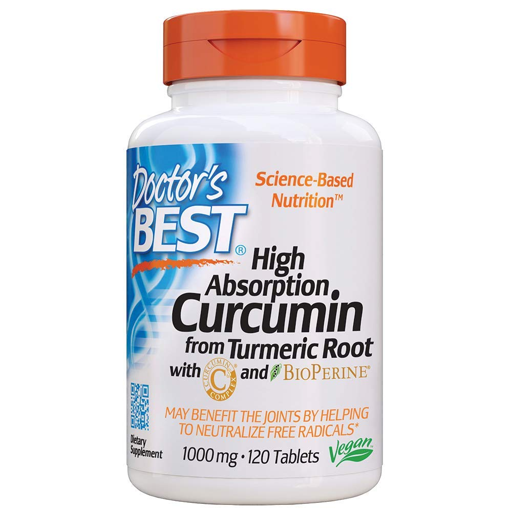Doctor's Best Curcumin From Turmeric Root  with C3 Complex & BioPerine, Non-GMO, Gluten Free, Soy Free, Joint Support, 1000 mg, 120 Tablets by Doctor's Best