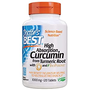 Doctor's Best Curcumin From Turmeric Rootwith C3 Complex & BioPerine, Non-GMO, Gluten Free, Soy Free, Joint Support, 1000 mg, 120 Tablets