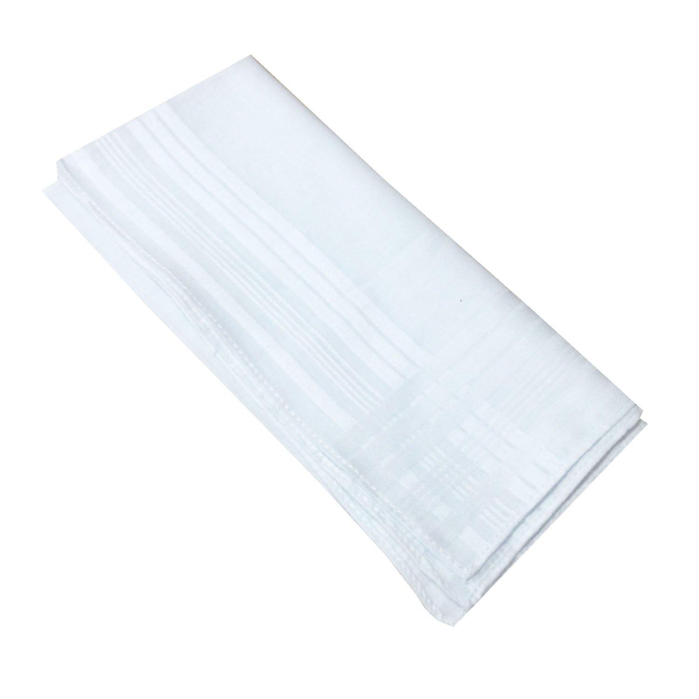 LACS Men's Solid White Cotton Handkerchiefs Pack by LACS Handkerchiefs (Image #4)