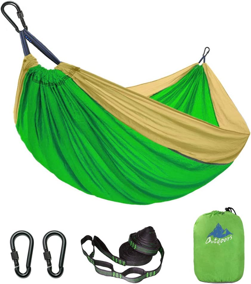 LKF Double Camping Hammock with Tree Straps – Capacity 1000lbs, Lightweight Portable Nylon Hammock for Hiking, Travel, Backpacking, Beach,Yard. 118 L x 78 W Green Khaki