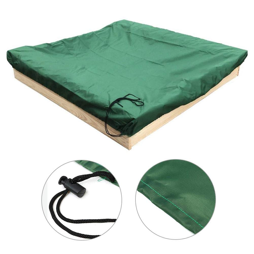 Funarrow Green Sandbox Covers with Drawstring Multi-Purpose Waterproof Poly Tarp Cover Cover Pool Cover 95 UV Protection Dustproof, Avoid The Sand and Toys Contamination by Funarrow (Image #4)