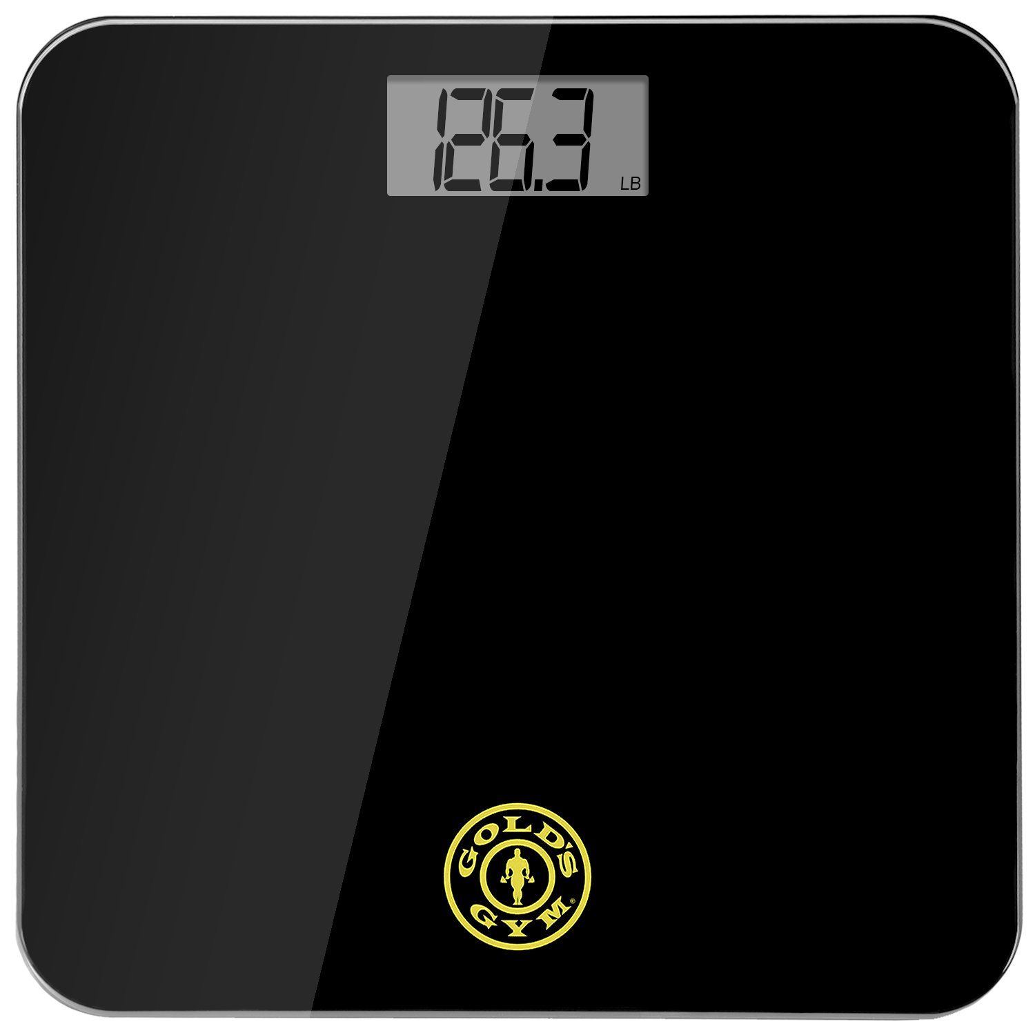 Gold's Gym Digital Tempered Glass Bathroom Body Weight Scale Highly Accurate LBS or KG, up to 400 Pounds Non Slip, Portable, Black