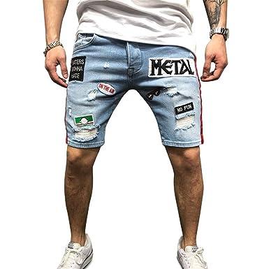YEBIRAL Pantalones Cortos Hombre, Verano Casual de Biker ...
