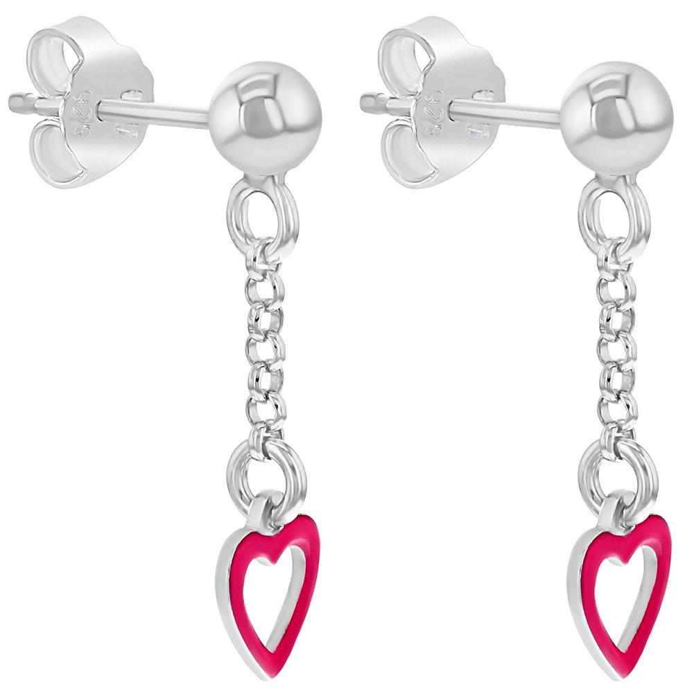 925 Sterling Silver Pink Enamel Heart Dangle Earrings for Girls Teens