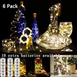 Set of 6 Warm White Wine Bottle Cork Lights with Timer - 10 LED Copper Wire Lights String 18 PCS Battary Extra Starry for Bottle DIY, Party, Decor, Christmas, Halloween, Wedding or Mood Lights