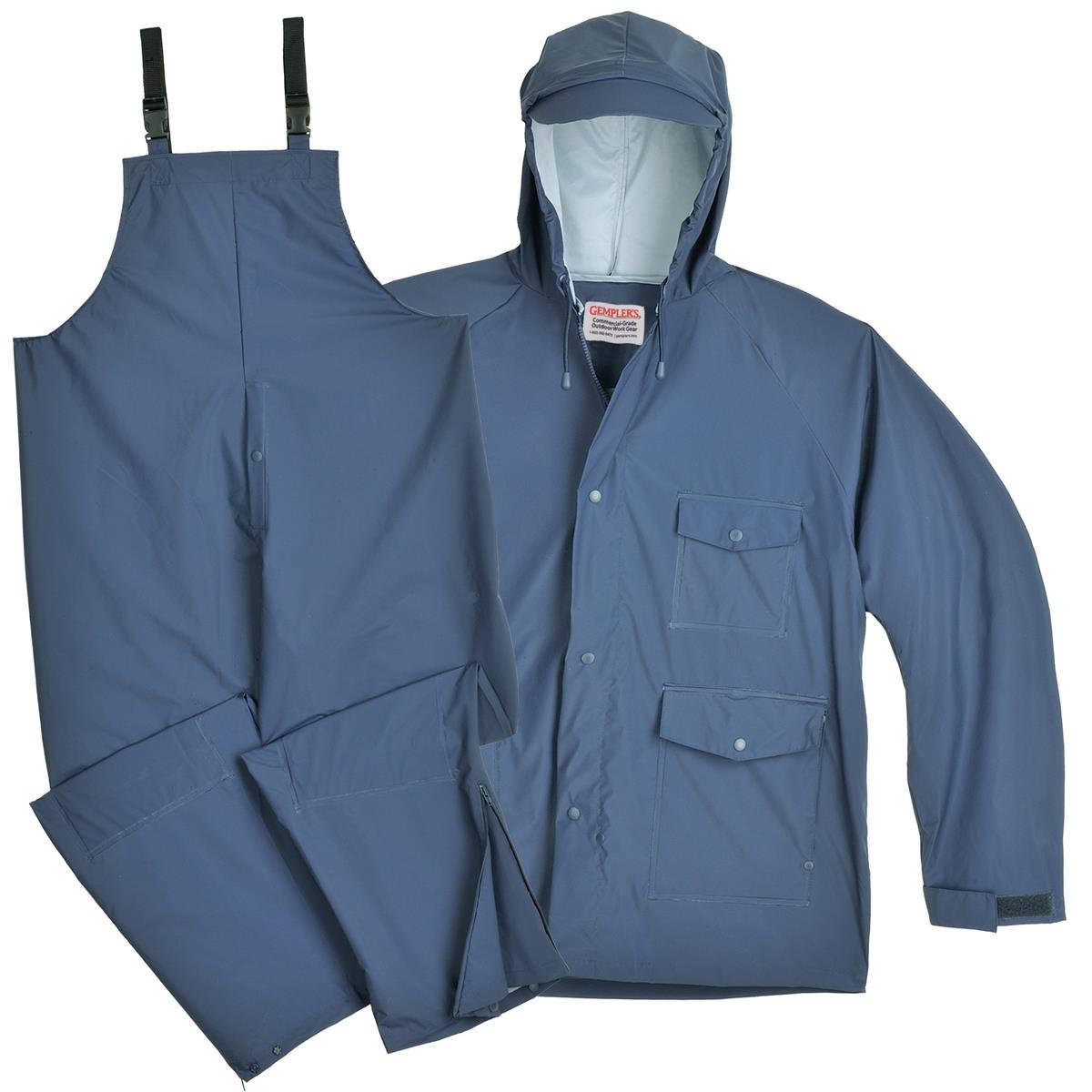 Gempler's Premium Quality Rain Jacket and Bib Overalls Waterproof Rain Suit, Blue, Size XL