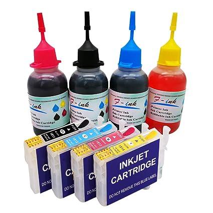 Cartucho de tinta recargable y tinta 4x50ml Compatible con tinta Epson 18 o 18XL, funciona con XP-415 XP-212 XP-215 XP-225 XP-322 XP-325 XP-412 XP-413 ...