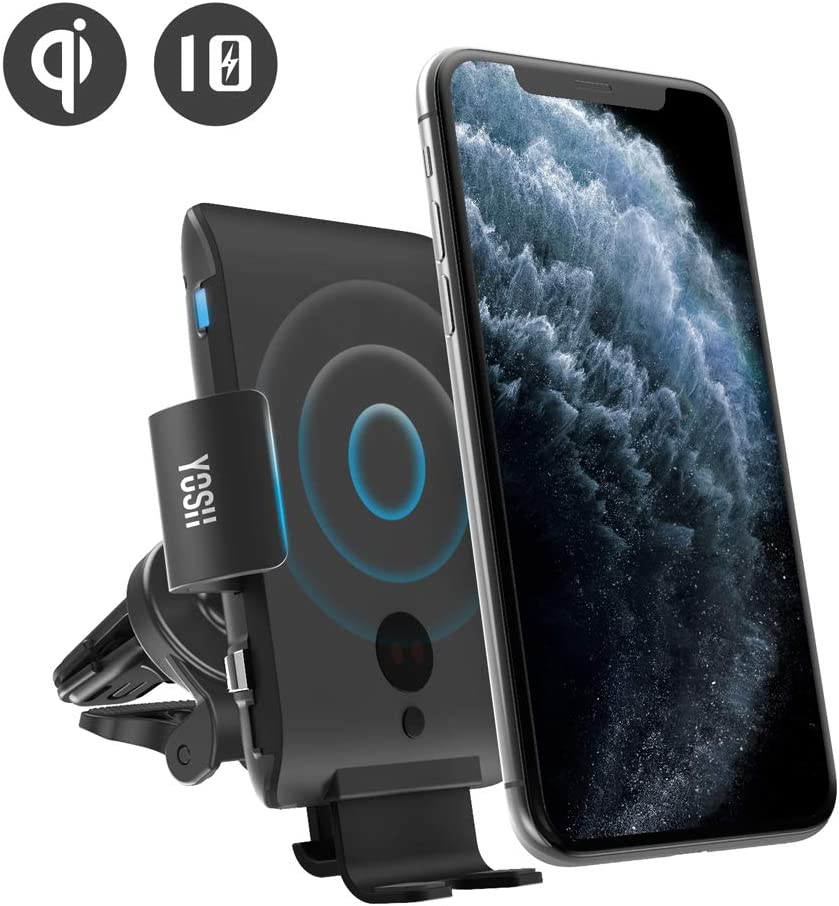 YOSH Wireless Car Charger Mount Samsung S10//S10+//S9//S9+//Note9 Automatic Clamping Car Charger Mount 10W Qi Fasting Charging Air Vent Mount Compatible with iPhone 11//11 Pro//11 Pro Max//Xs Max//XR//8 Plus