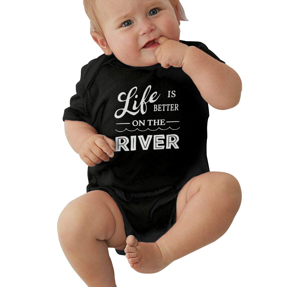 Baby Boy Girl Short Sleeve Jersey Bodysuit Life is Better On The River Baby Clothes