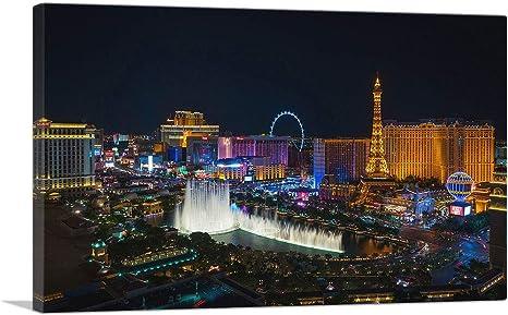 Amazon Com Artcanvas Las Vegas Strip Nevada Party City At Midnight Canvas Art Print 40 X 26 0 75 Deep Posters Prints